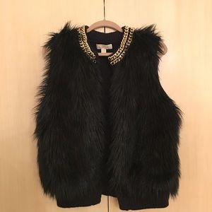 MICHAEL Michael Kors black faux fur vest